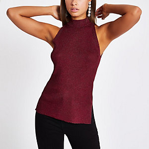 Burgundy knit sleeveless racer vest