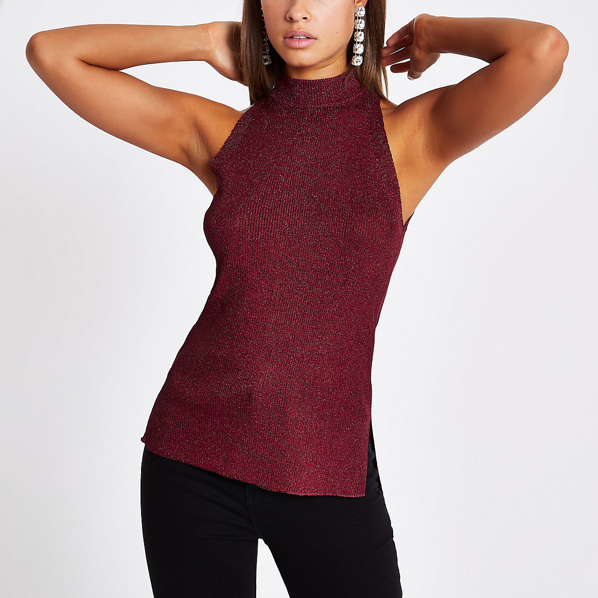 Burgundy knit sleeveless racerback tank top