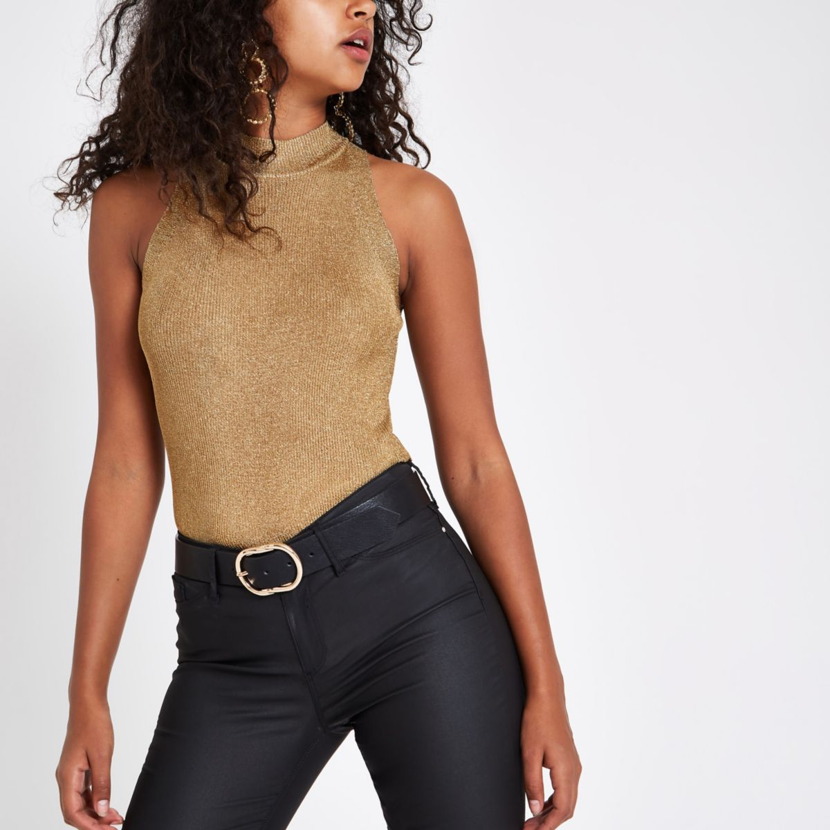Gold knit sleeveless racerback tank top