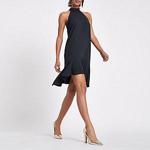 Marineblaues Neckholder-Swing-Kleid