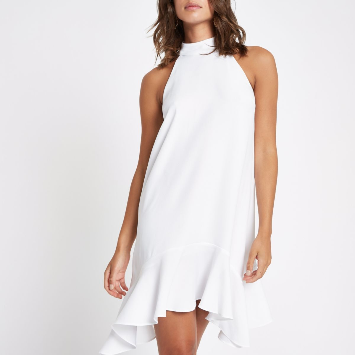 White frill hem halterneck swing dress