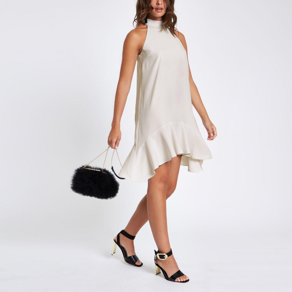 Stone halter neck swing dress