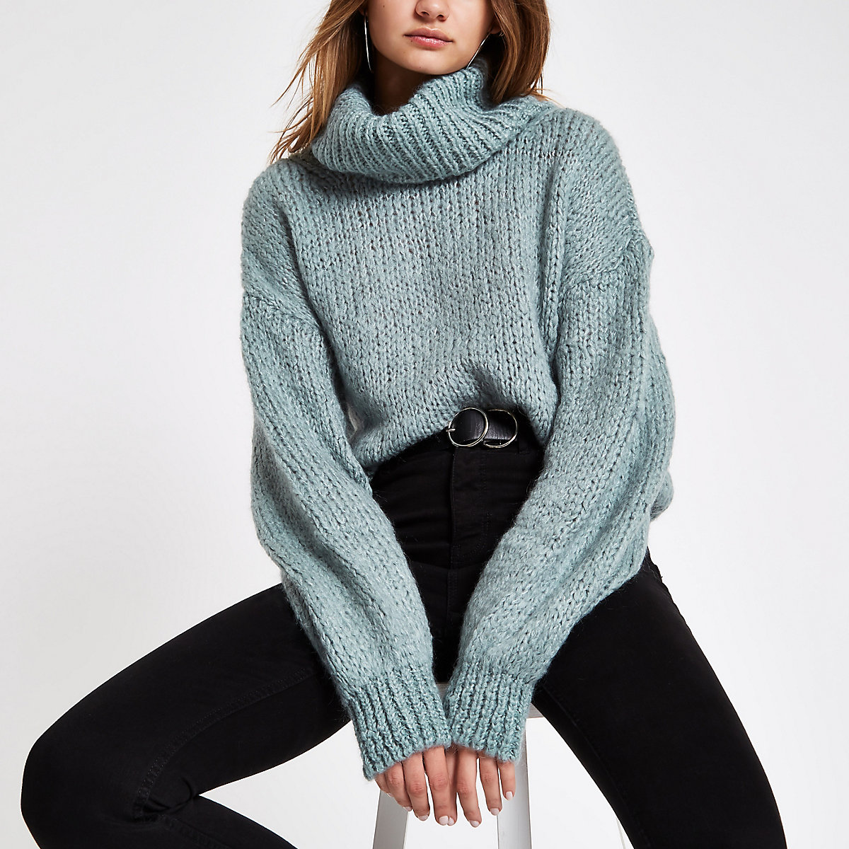 Light green roll neck knit jumper