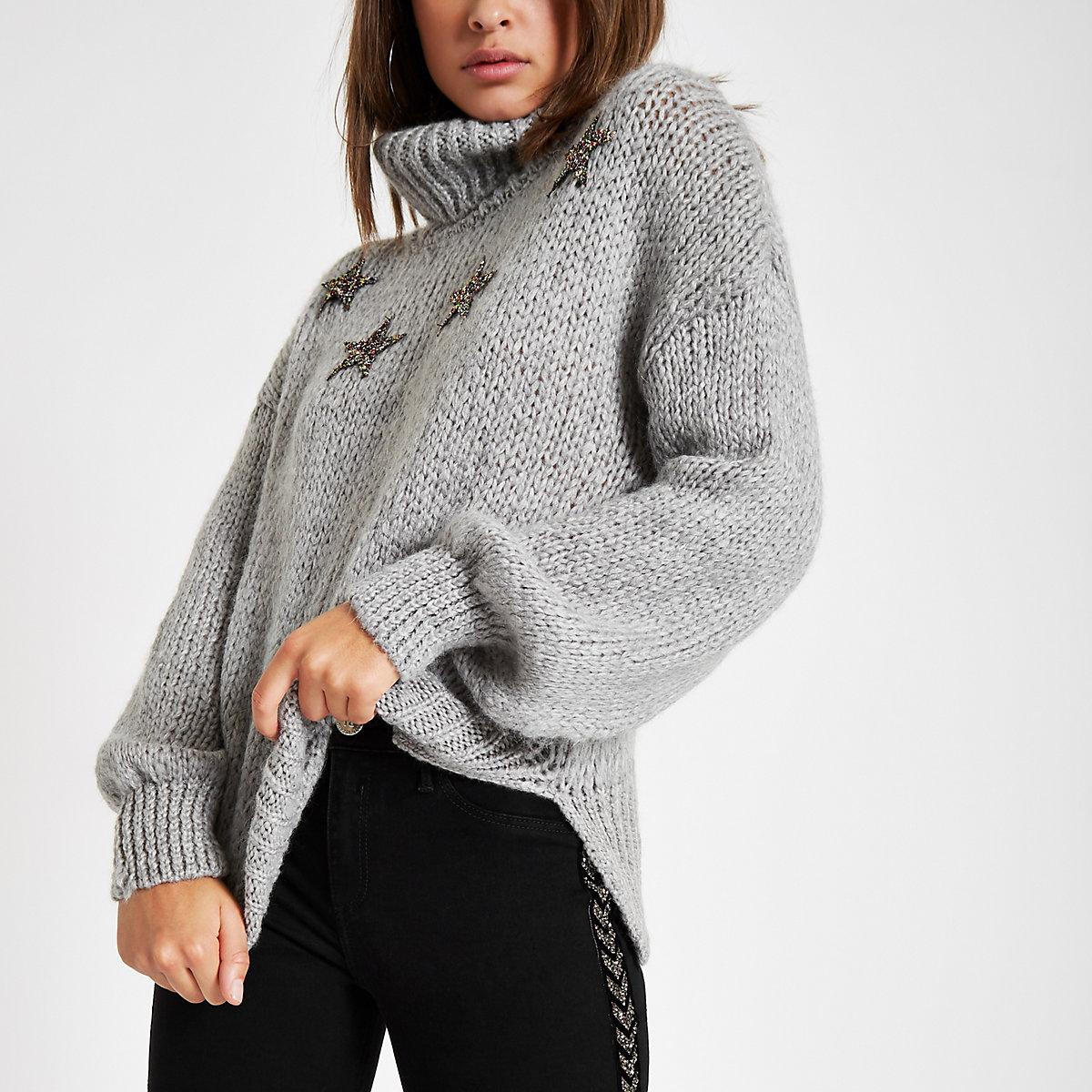 Grey star roll neck knit sweater