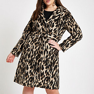Plus brown leopard print belted robe coat