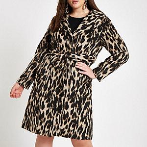 Plus – Manteau imprimé léopard marron ceinturé