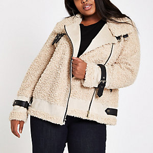 Plus beige fleece aviator jacket