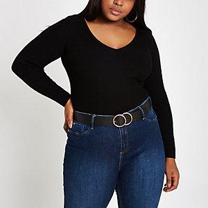 Plus – Pull côtelé noir col V à épaulettes