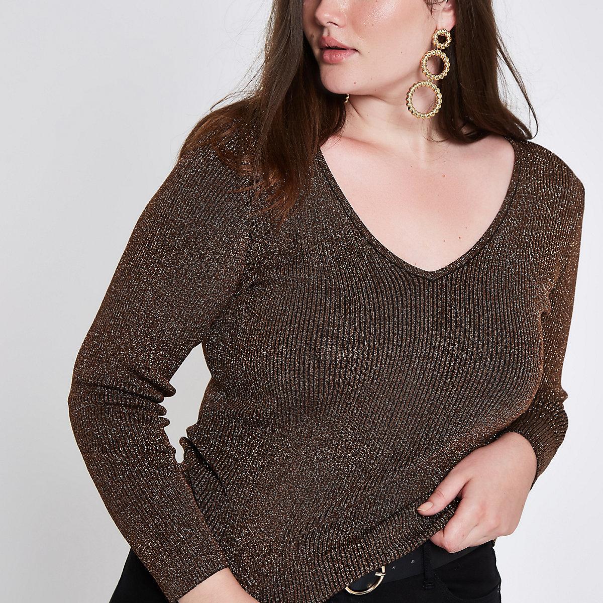 Plus brown metallic rib V neck sweater