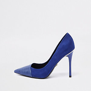Bright blue croc wrap around pumps