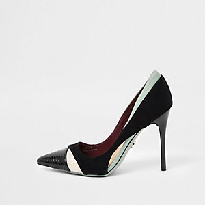 Escarpins colour block noirs