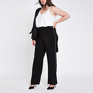 Plus black rhinestone side wide leg pants
