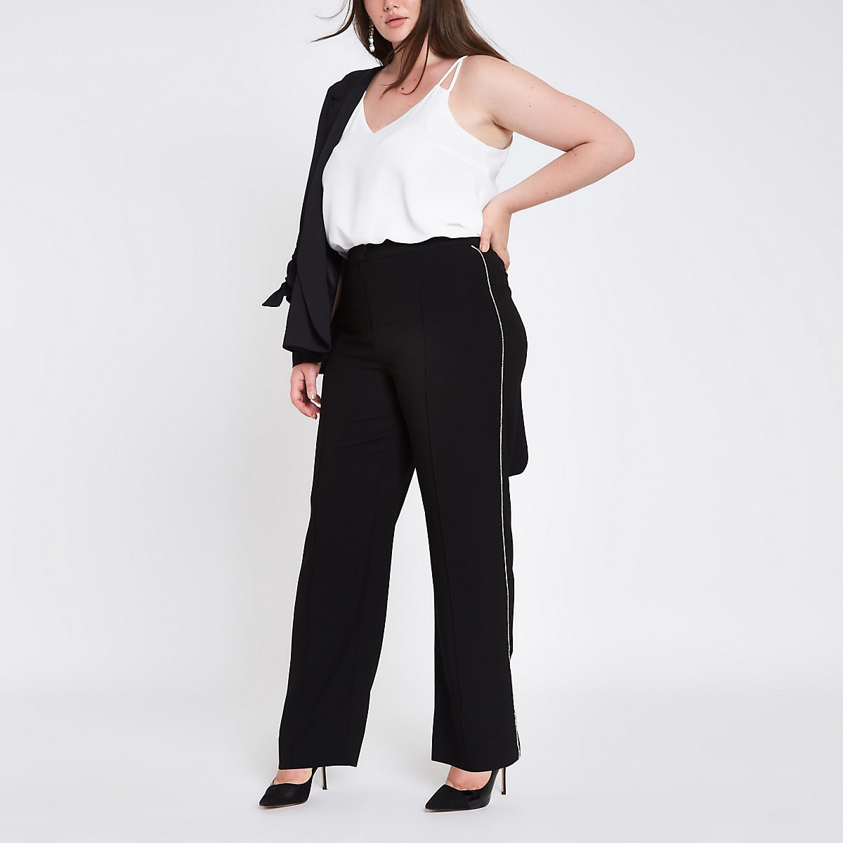 Plus black diamante side wide leg trousers