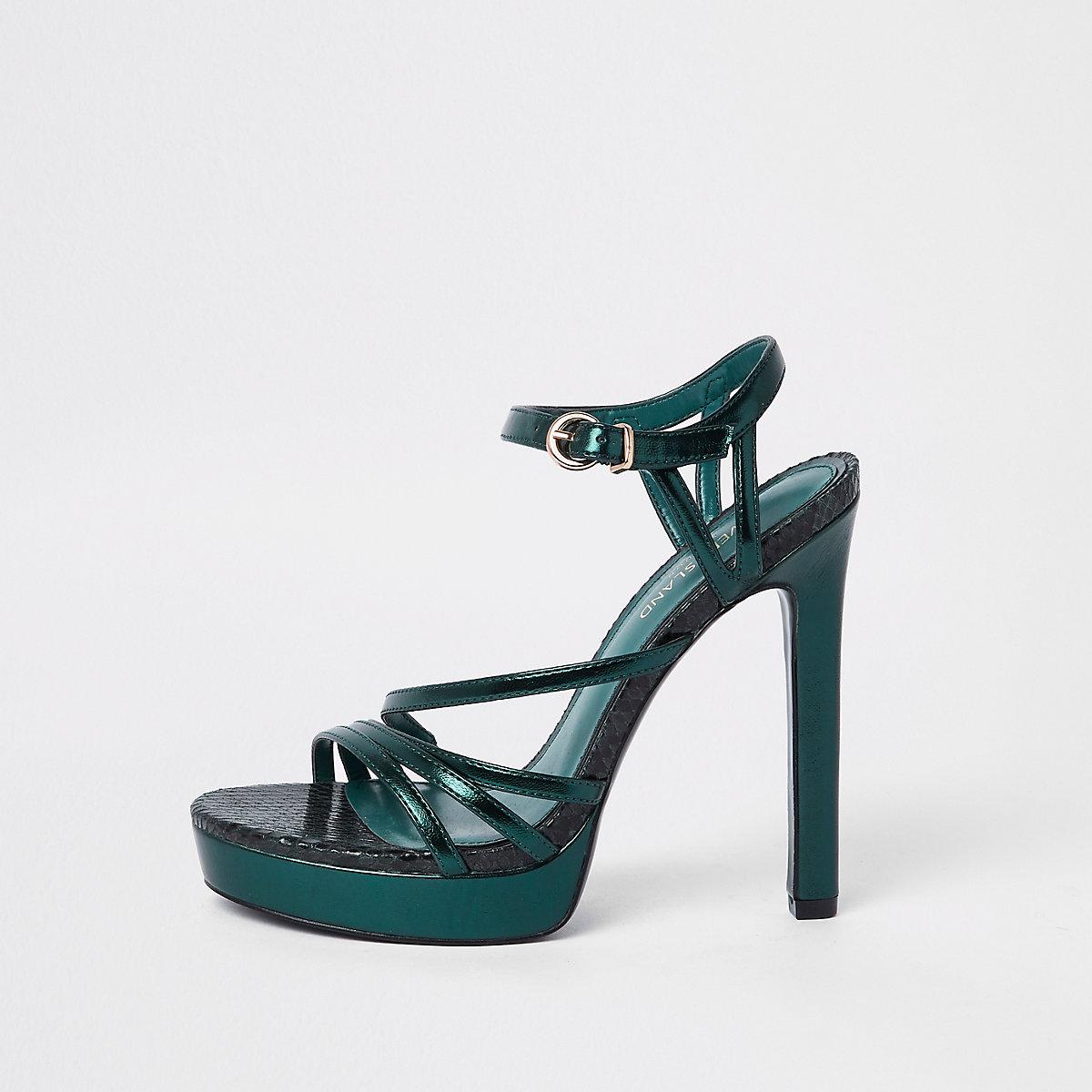 Dark green platform sandal