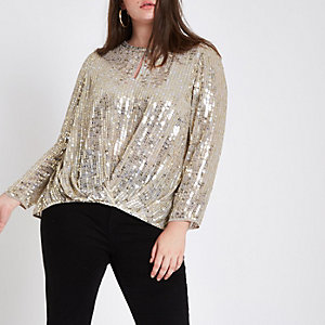 Plus gold sequin tuck front long sleeve top