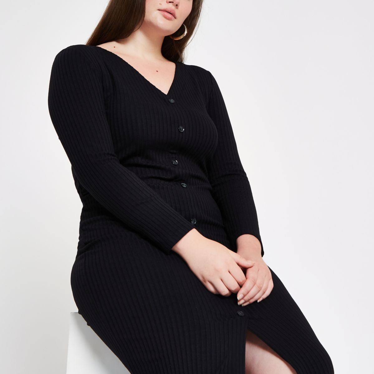 Plus black ribbed button front bodycon dress