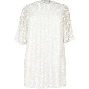 Plus white sequin swing dress