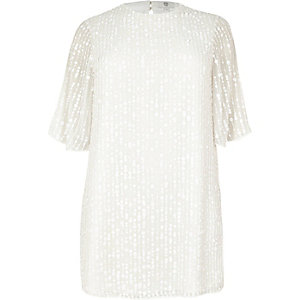 Plus – Robe trapèze blanche à sequins