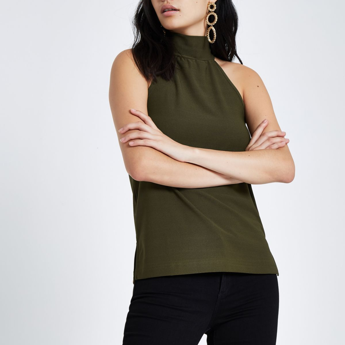 Khaki halter neck sleeveless top