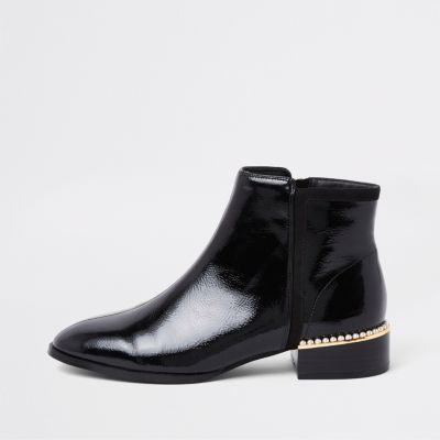 Black Patent Leather Pearl Trim Ankle Boots by River Island