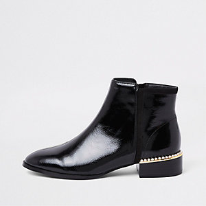 Black patent leather pearl trim ankle boots