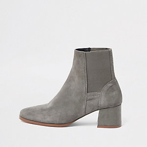 Grey suede square toe block heel boots