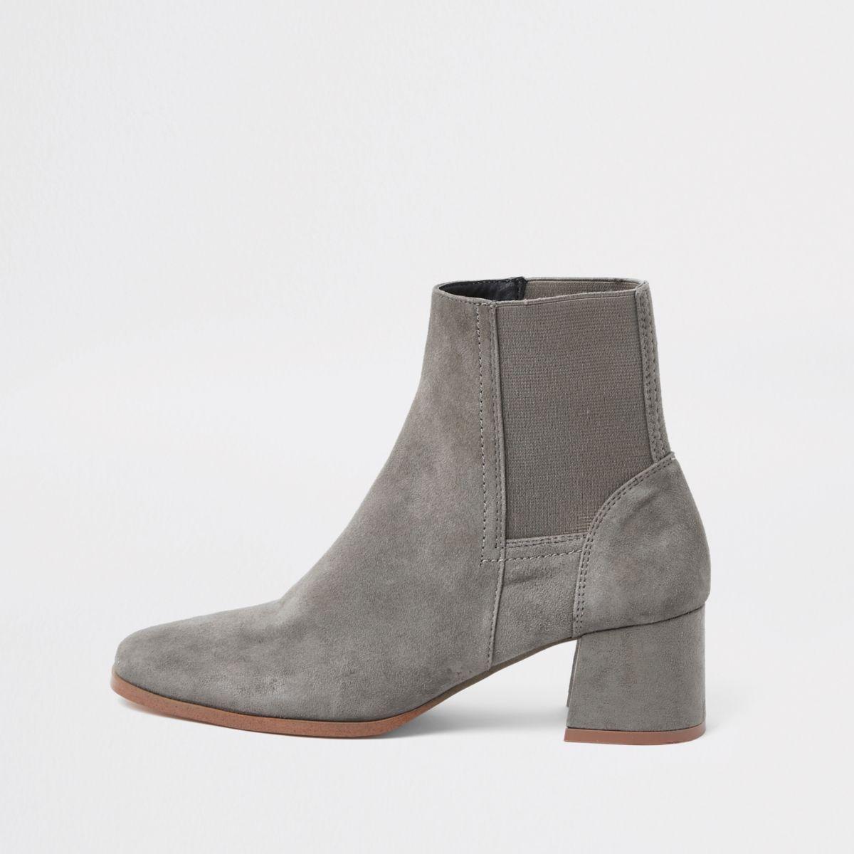 Grey suede square toe block heel boots