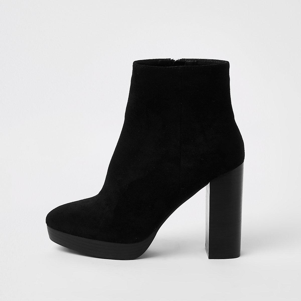 Black block heel platform boots