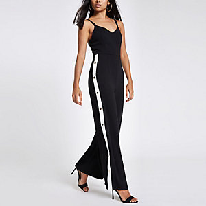 Petite black wide leg popper side jumpsuit