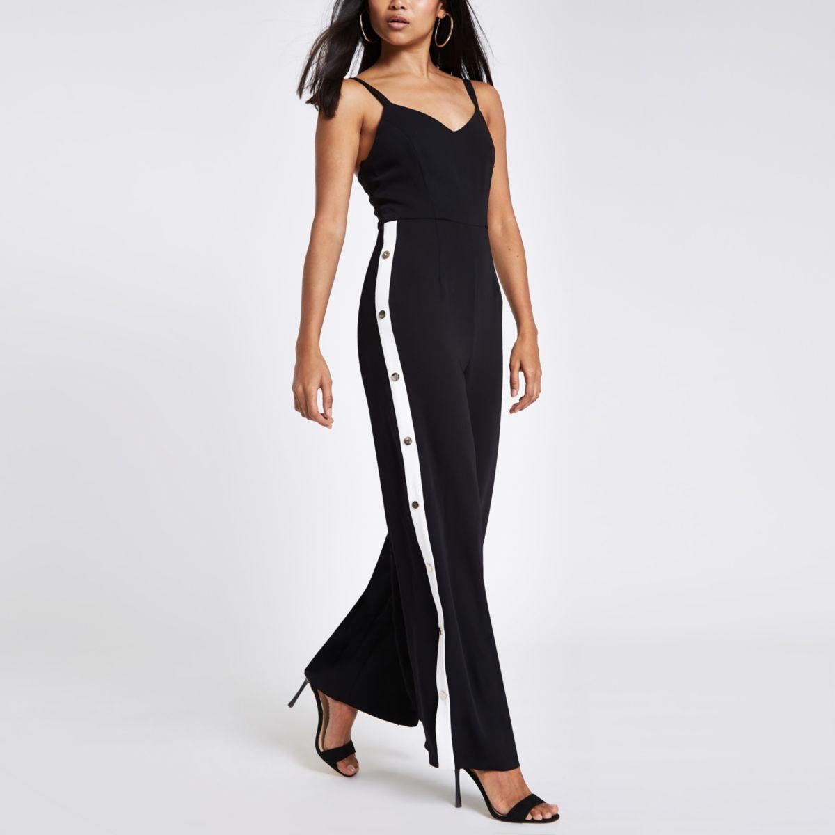 Petite black wide leg popper side jumpsuit