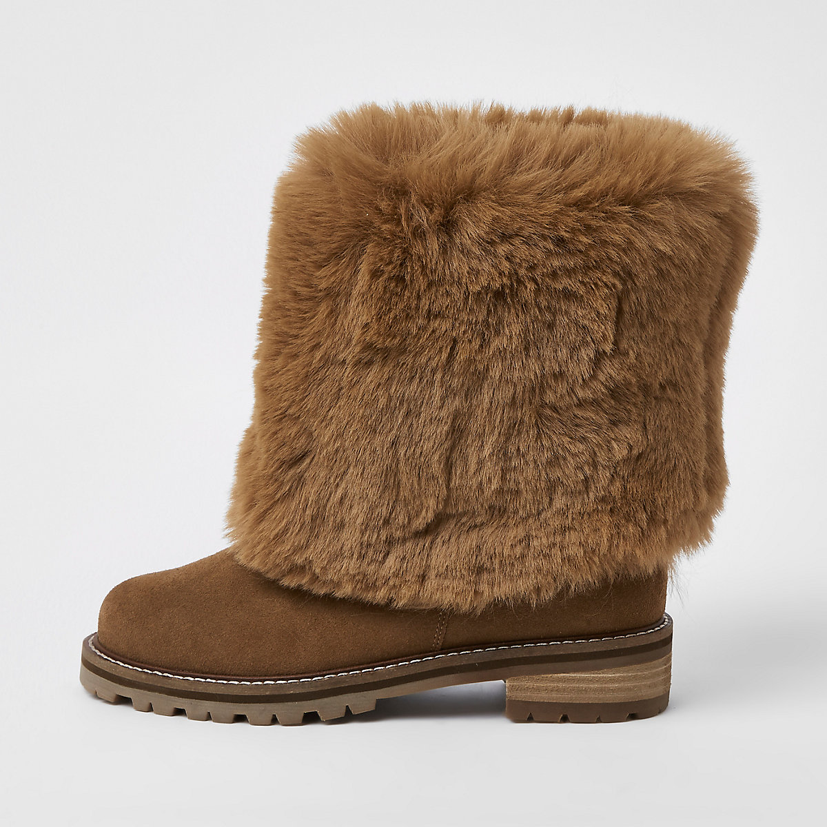 Brown turn down faux fur boots