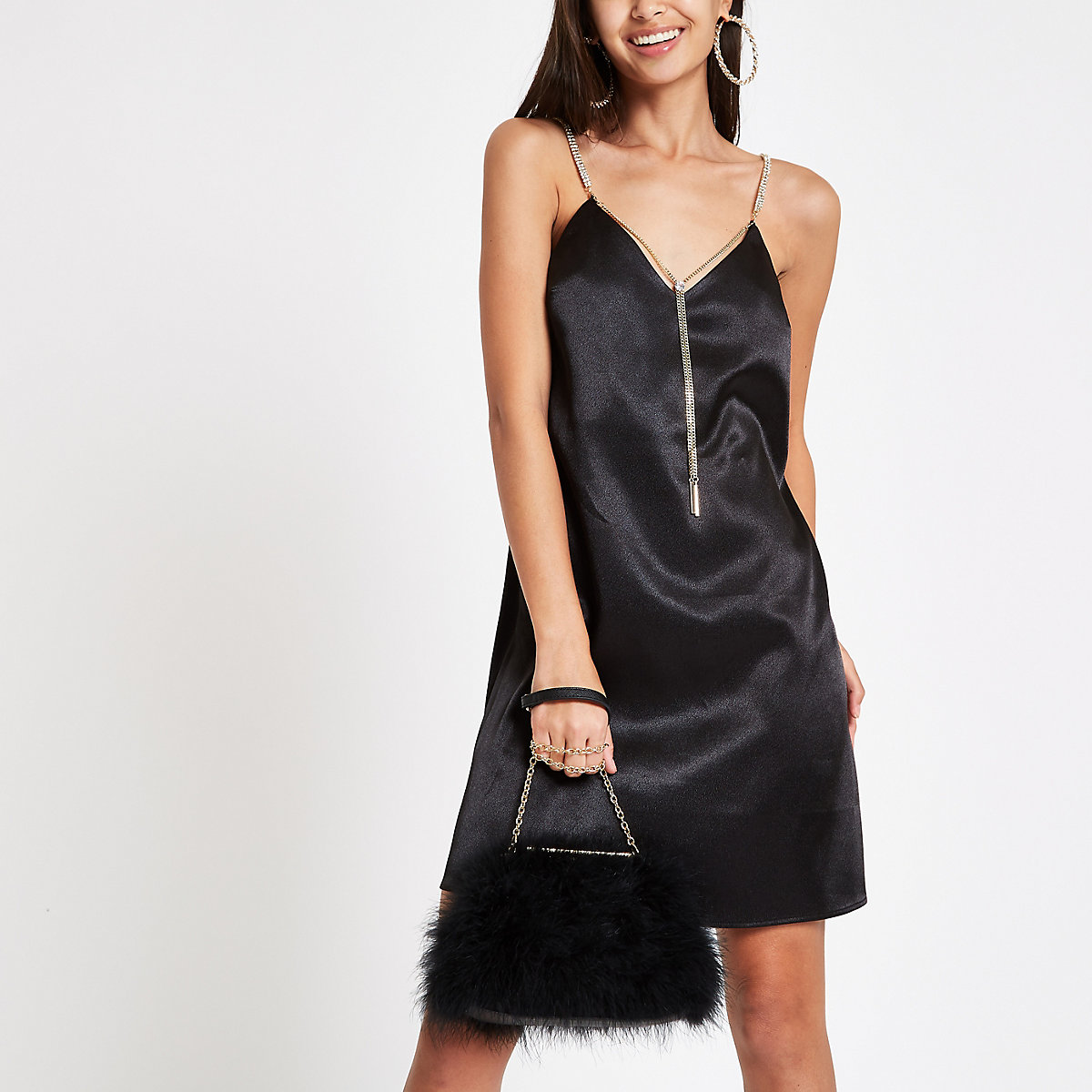 Black satin chain strap slip dress