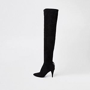 Black over the knee lace back slim heel boots