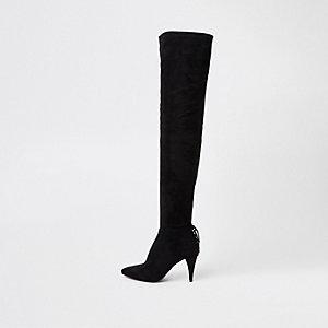 Schwarze Overknee-Stiefel zum Schnüren