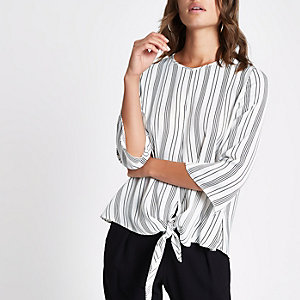 Cream stripe tie front blouse