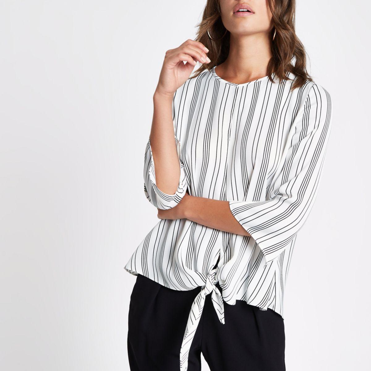 Cream stripe tie front blouse