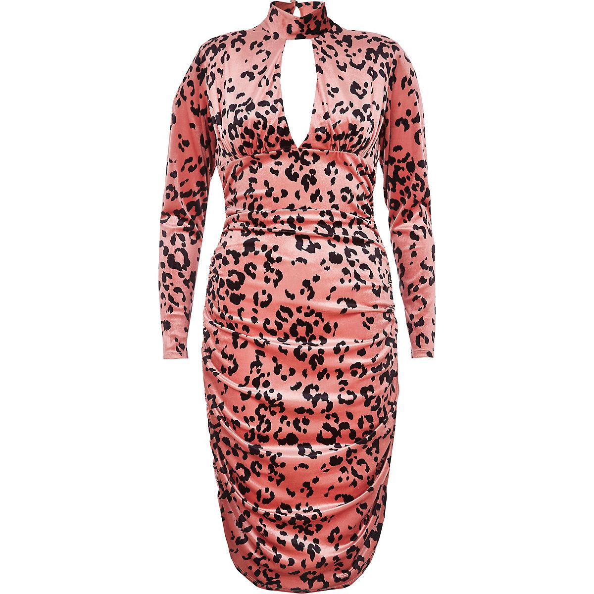Pink leopard print ruched bodycon dress - Bodycon Dresses - Dresses ... 6a07c233e