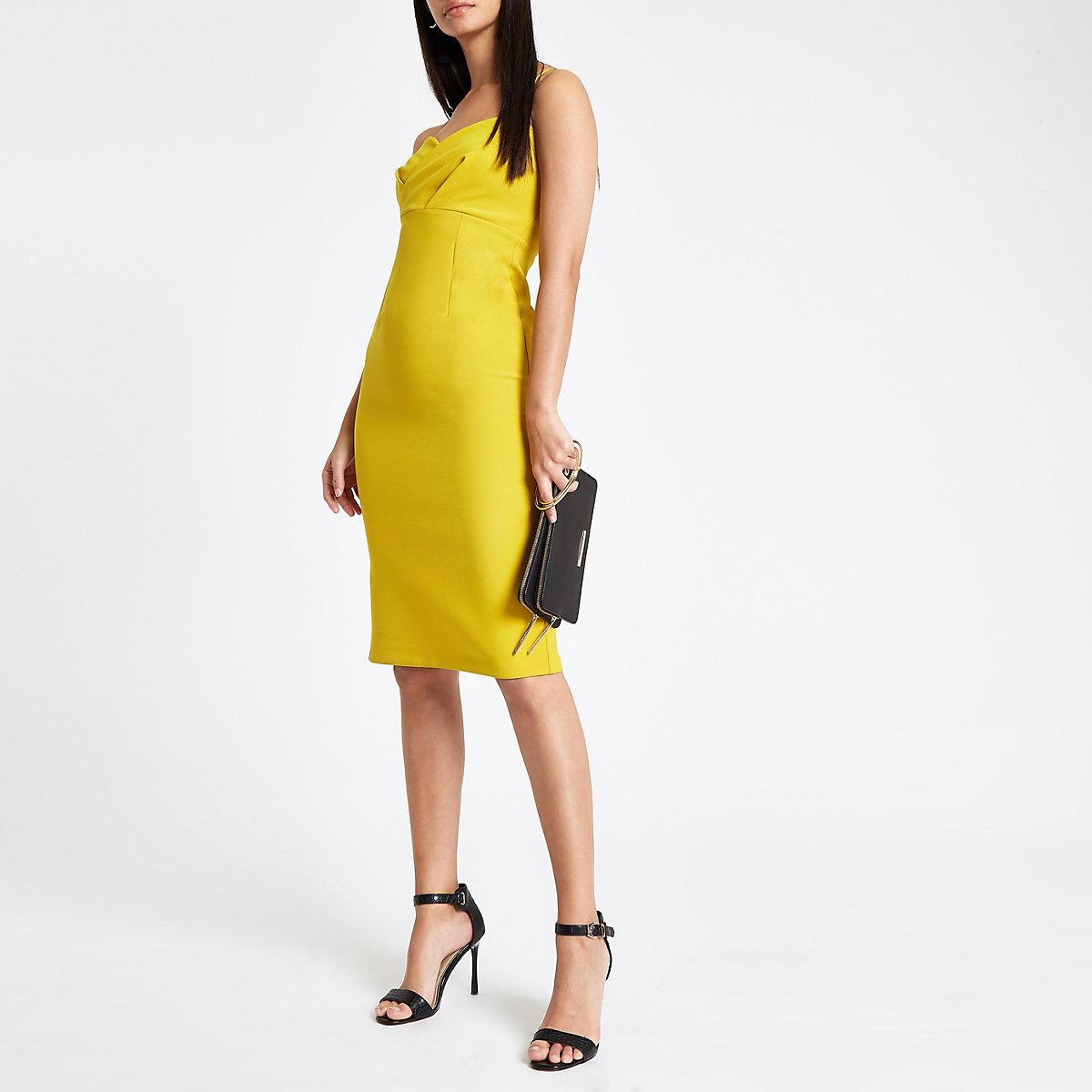 Yellow tulip style bodycon midi dress