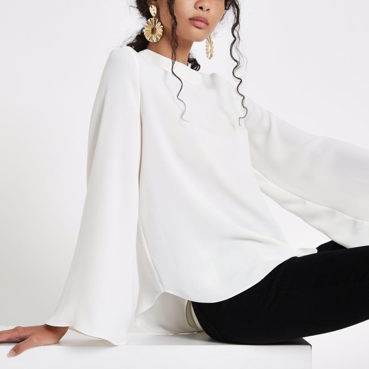 Cream high neck wide sleeve top