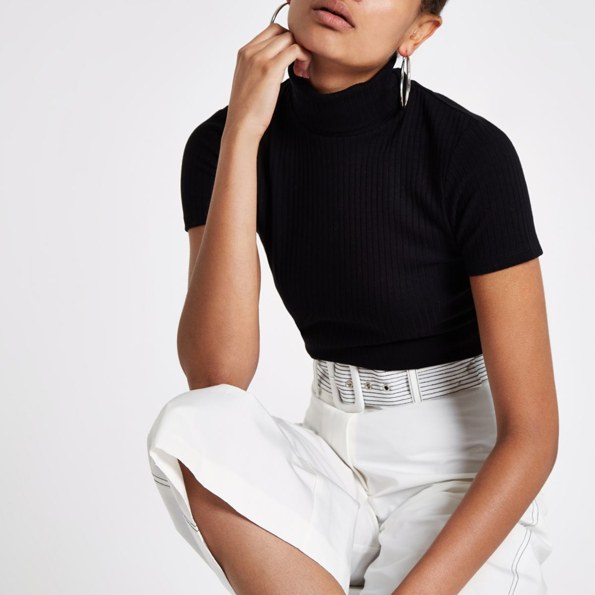 Black ribbed roll neck short sleeve top