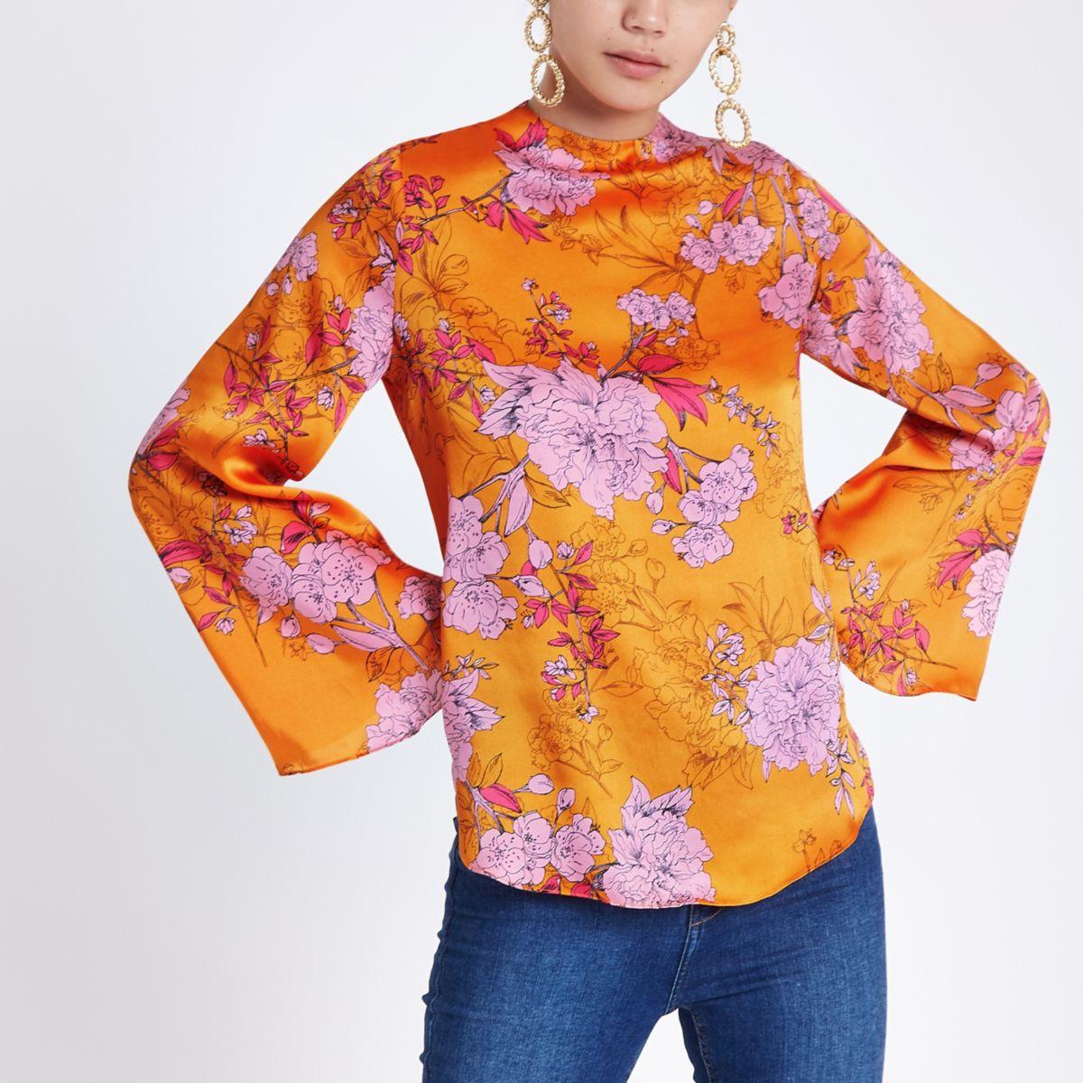 Orange floral print flare sleeve top