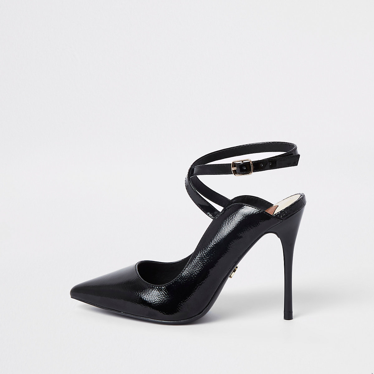 Black wide fit patent cross strap court shoes
