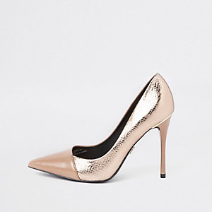 Bright gold wide fit wrap around court shoes