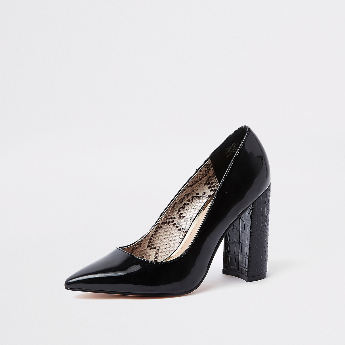 Escarpins noirs coupe large à talons carrés - Chaussures ... 3aa4fcf36ba0