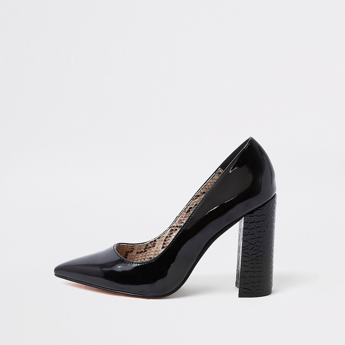 Black wide fit block heel court shoes