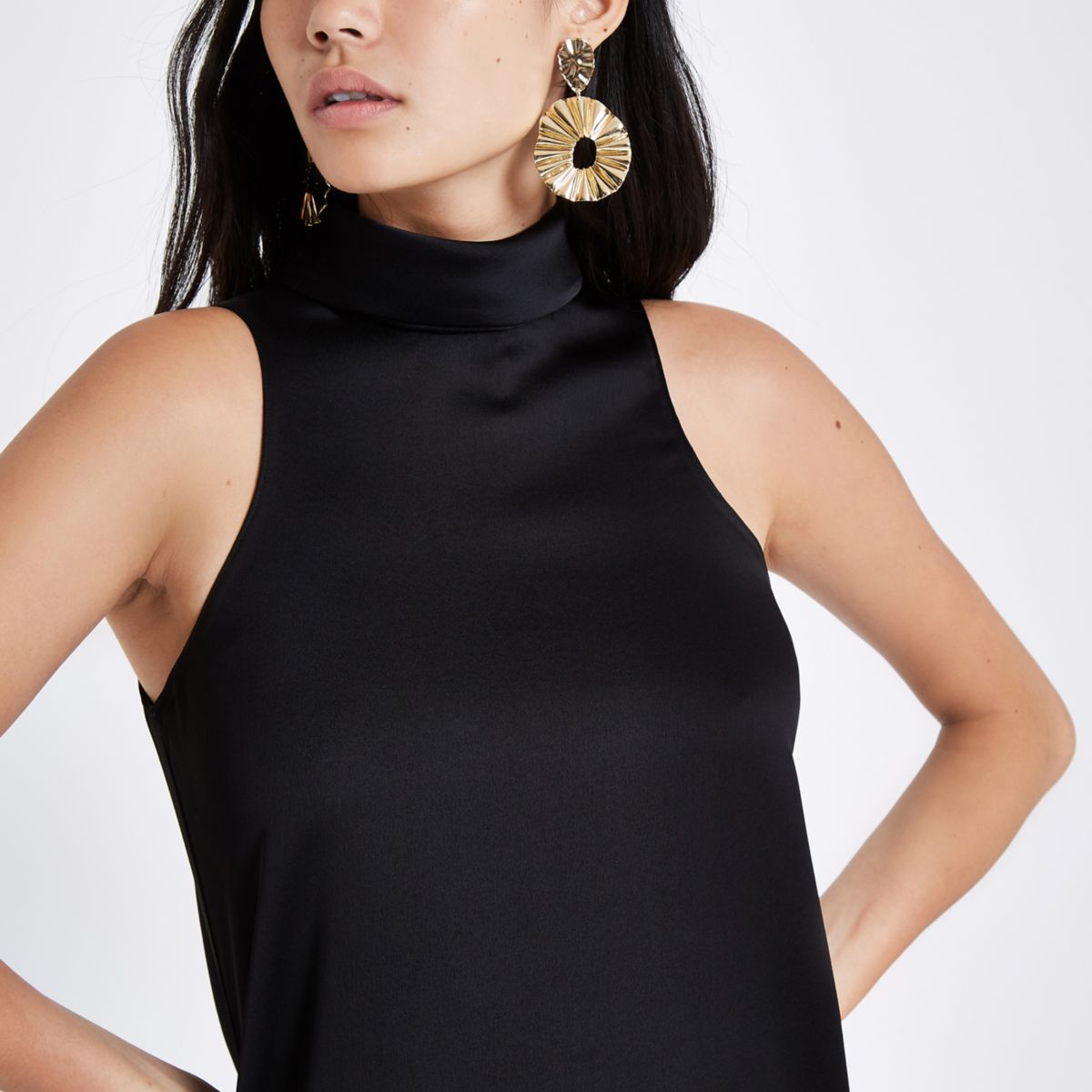 Black satin high neck top
