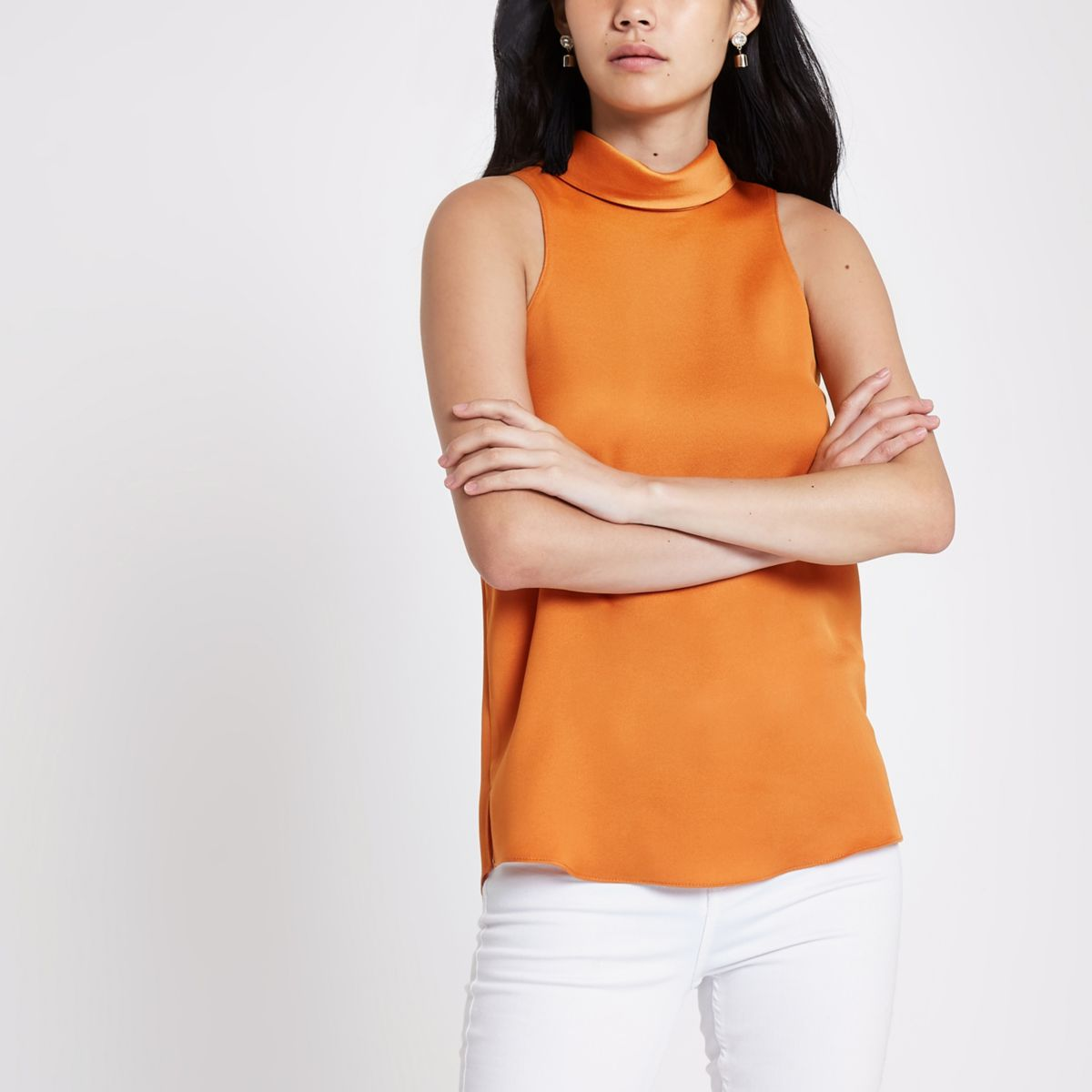Orange satin high neck top