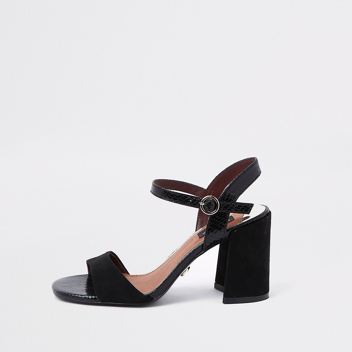 Black croc wide fit block heel sandals