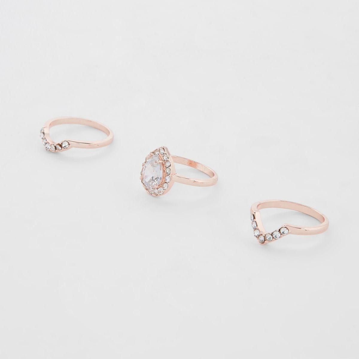 Rose gold tone diamante ring multipack