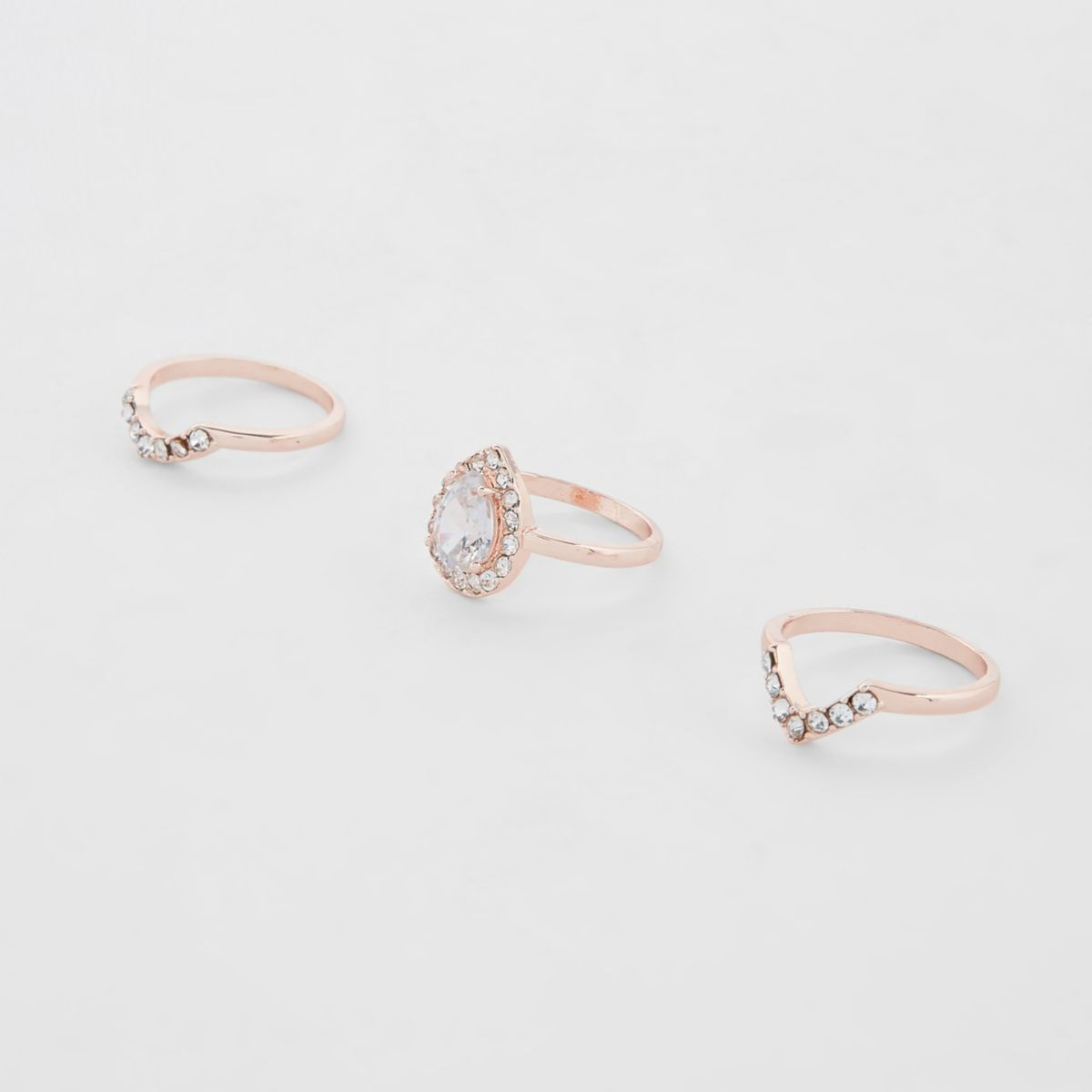 Rose gold tone rhinestone ring multipack